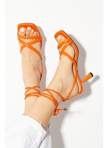 Derithy Rapına Topuklu Ayakkabı-Lıla-Byc1702 Oranj